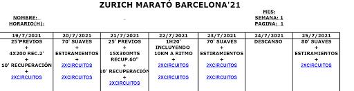 Entreno Zurich Marató Barcelona'21