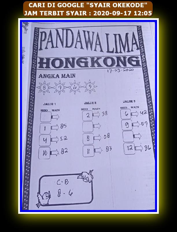 Kode syair Hongkong Kamis 17 September 2020 89