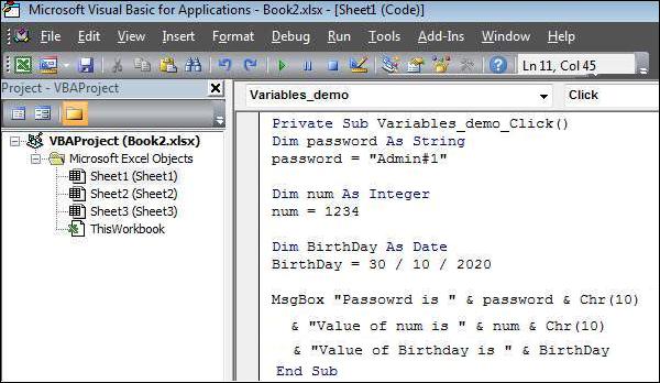 VBA - Variables Shout4Education