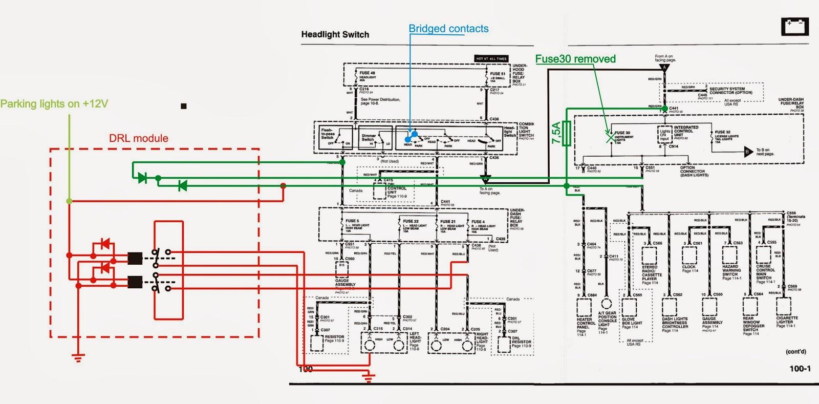 Running Lights Circuit Diagram Wiring For Lighting Uk Daytime Light Relay 35