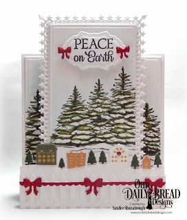 Our Daily Bread Designs Stamp Set: Peaceful Wishes, Custom Dies: Double Pierced Vintage Labels, Center Step A2 Card, Center Step A2 Layers, Bitty Borders, Fence, Neighborhood Border, Christmas Door Greenery, Windowsill Candles, Lavish Layers (trimmed down to fit)