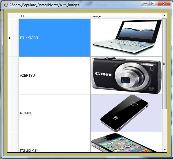 How To Populate Datagridview With Images In C#