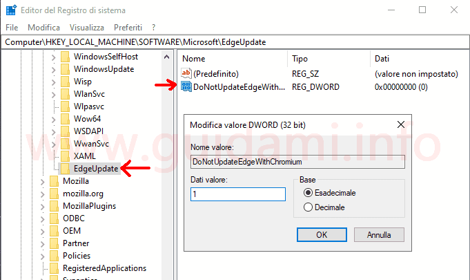 Windows 10 Registro di sistema chiave EdgeUpdate