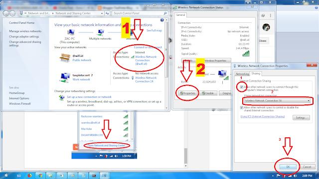 Cara Share wifi id di windows 7