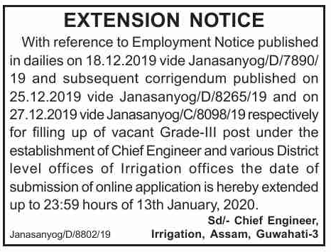 Irrigation Department Assam Recruitment 2020
