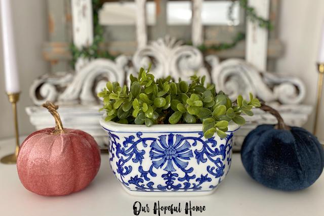 blue white porcelain cachepot boxwood velvet pumpkins fall decor