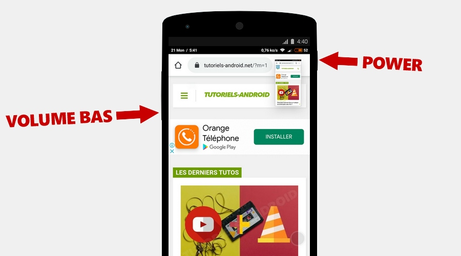 Capturer écran d'un mobile LG