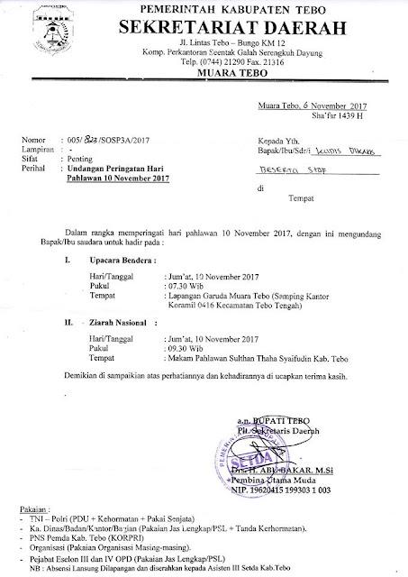 Undangan Peringatan Hari Pahlawan 10 November 2017 Dinas Dikbud