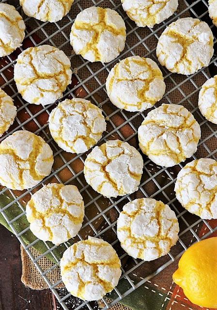Lemon Crinkle Cake Mix Cookies on Cooling Rack Image