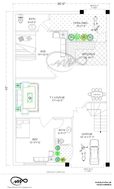 27x36 1000 Square Feet 3 5 Marla House Plan And Map