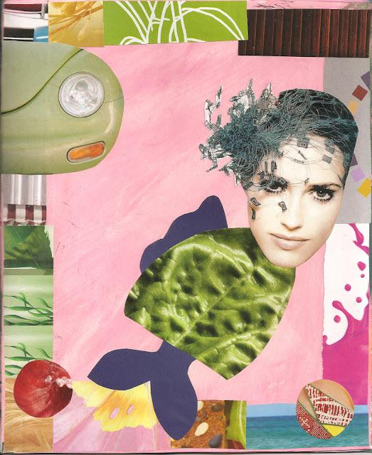 tamdoll Mermaid Circus Journaling Page 2 adding more collage