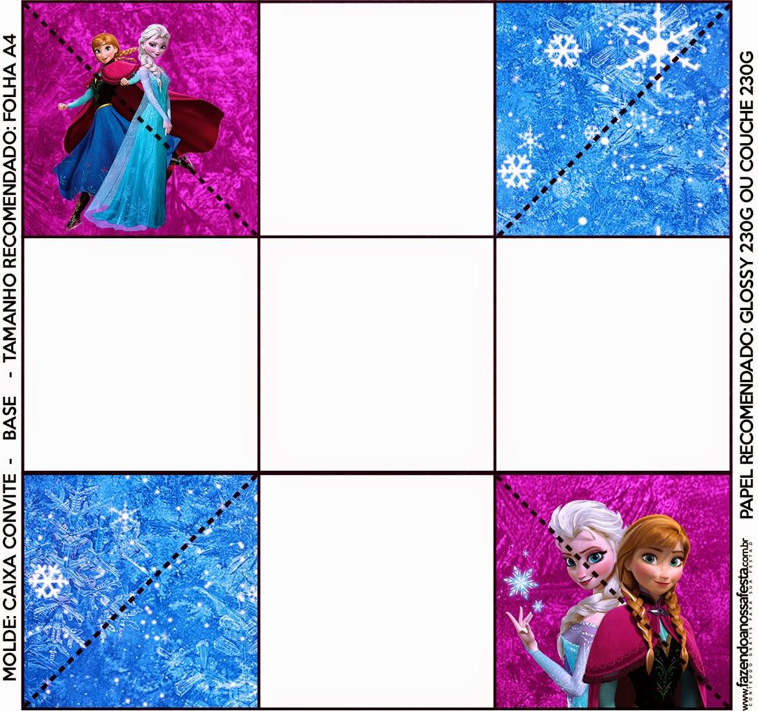 Parte de abajo de la caja de invitacion de Frozen Azul y Purpura.