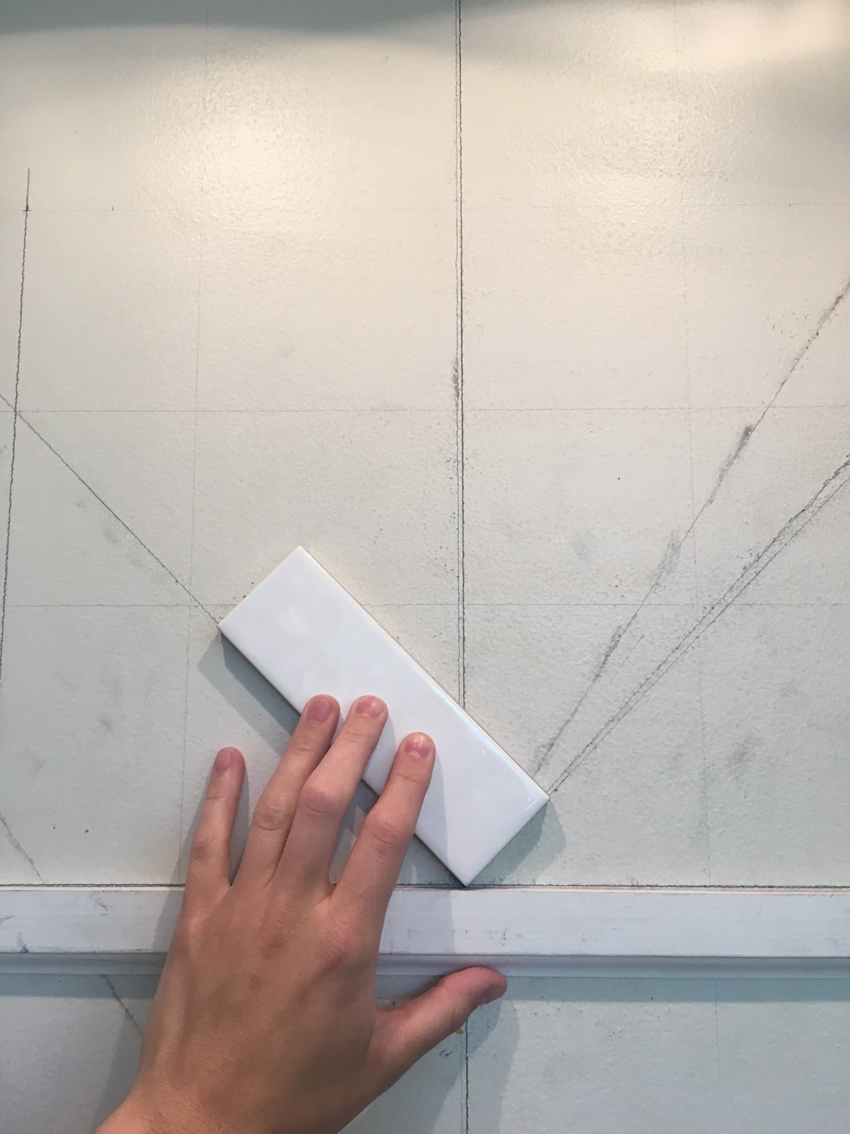 The Sourced Home DIY Herringbone Backsplash - 45 degree herringbone tile pattern