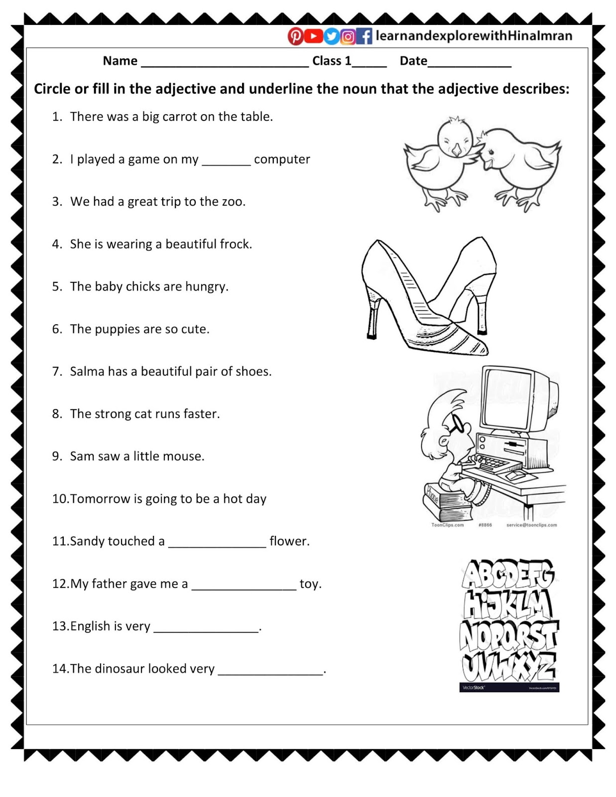 Learn and Explore 360 - Hina Imran: Grade 1 Worksheets [ 1600 x 1237 Pixel ]