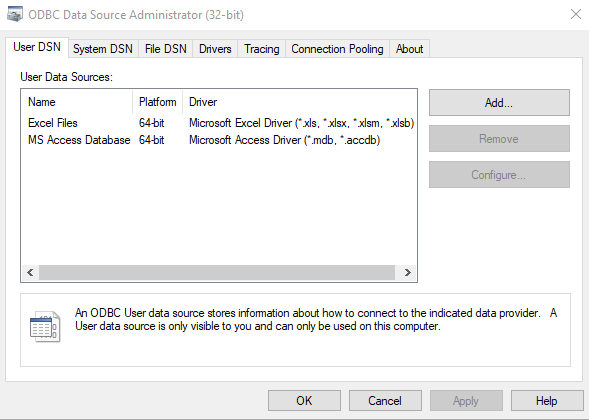 How to Open ODBC Data Sources in Windows 10