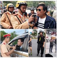 cảnh sát giao thông đang tiến hành đo nồng độ cồn của người tham gia giao thông