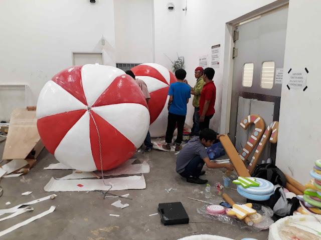 Dekorasi styrofoam bentuk balon untuk hanging