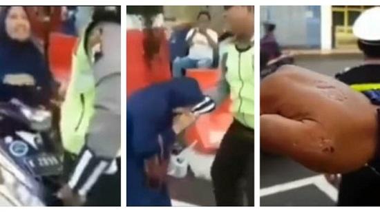 Viral! Video Emak-emak Gigit Polantas Yang Akan Menilangnya di Kudus