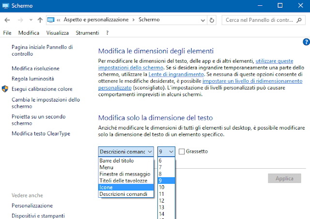 Windwos 10 Modifica dimensione testo