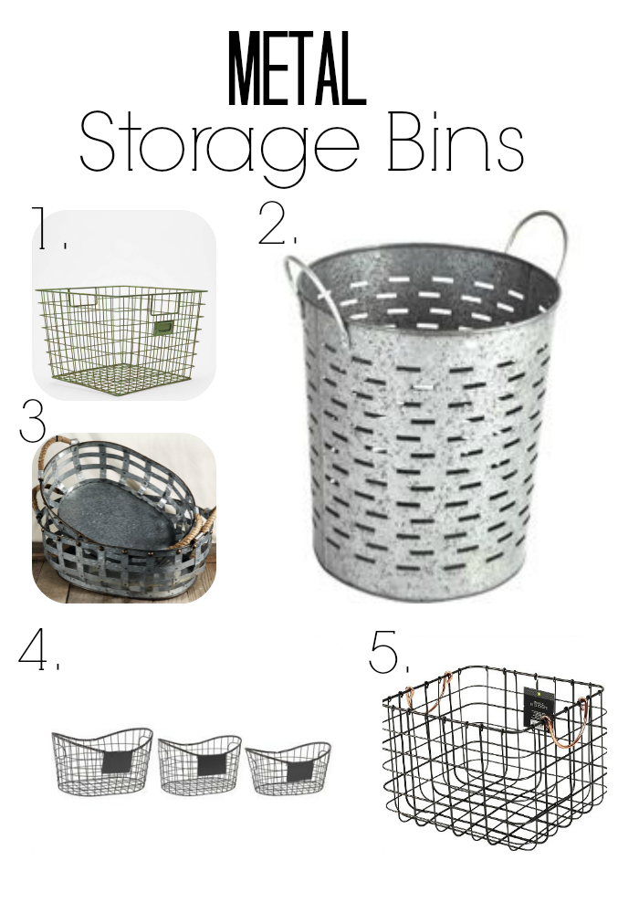 Metal storage basket and bins