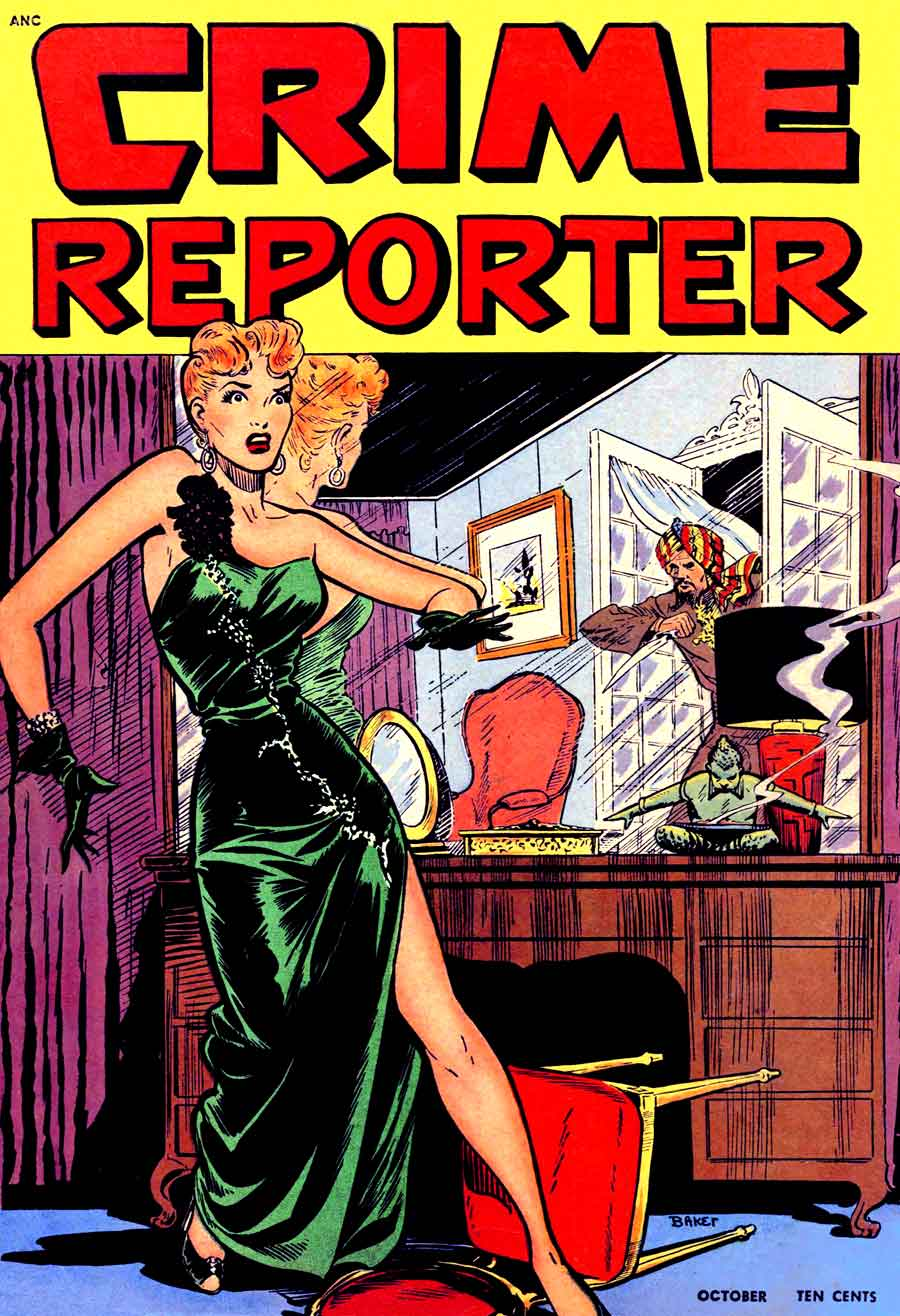 Crime Reporter v1 #3 - Matt Baker golden age crime comic book cover art