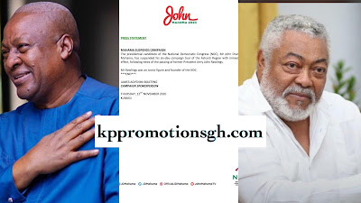 The Presidential Candidate Of NDC, John Dramani Mahama Suspends Campaign Following The Death Of Former President Of Ghana And Founder Of NDC, Jerry John Rawlings.(Read Statement)