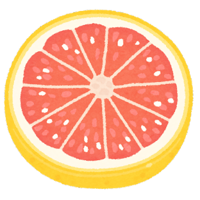 ピンクグレープフルーツの輪切りのイラスト