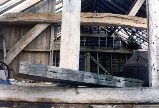 The interior of the barn at Potterells Farm - picture taken 1985  Image from P Edgar, part of the Images of North Mymms Collection