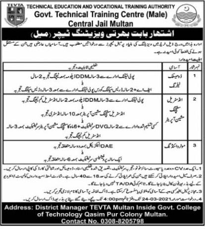 Govt Technical Training Institute Multan TEVTA Jobs 2021 For Visiting Teacher Posts