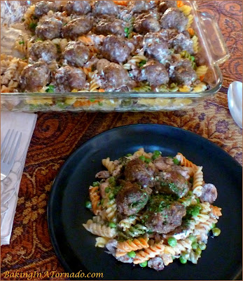 French Onion Meatball Casserole: noodles, vegetables and meatballs baked in a creamy onion sauce. | Recipe developed by www.BakingInATornado.com | #recipe #dinner