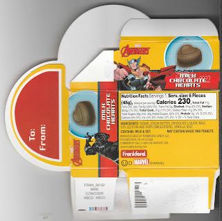 Marvel Avengers Milk Chcolate Hearts Box back