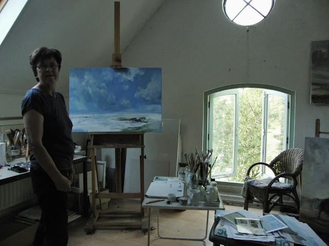 Paula Hondsmerk Art, landschap schilderij, luchten schilderen, De IJssel, De Sallandse Heuvelrug