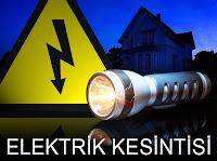Elektrik tabelası ve el fenerinden oluşan ve elektrik kesintisini anlatan görsel