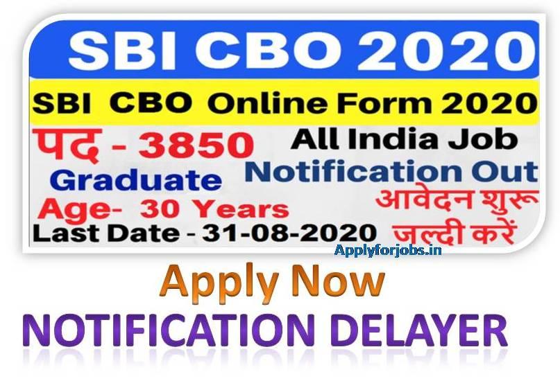 SBI Bank Online form 2020 Apply, SBI CBO posts 2020, applyforjobs.in