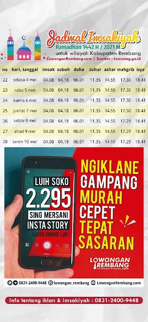 Jadwal Imsakiyah Ramadhan 1442 Hijriyah 2021 Masehi Kabupaten Rembang Minggu Keempat