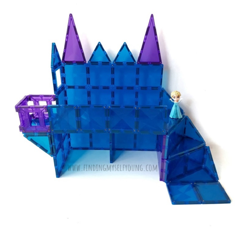 elsas ice castle made from magnetic tiles
