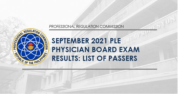 PLE RESULT: September 2021 Physician board exam list of passers