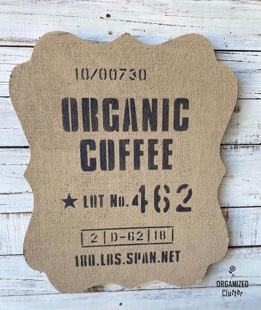 Photo of a burlap organic coffee sign