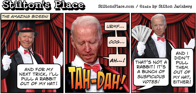 STILTON'S PLACE, STILTON, POLITICAL, HUMOR, CONSERVATIVE, CARTOONS, JOKES, HOPE N' CHANGE, Biden, Trump, Election, decision, recount, magician