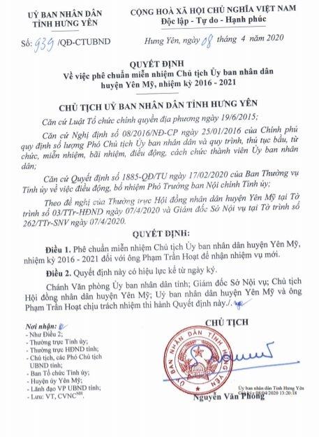 Hưng Yên: Địa bàn sai phạm đất đai chủ tịch huyện Yên Mỹ vẫn 'thăng chức' - quá bi hài