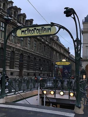 Art Nouveau métro station entrance in Paris 1er