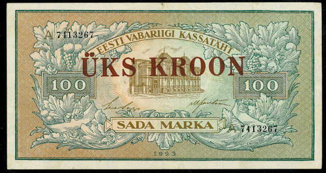 World paper money Estonia 100 Marka banknote