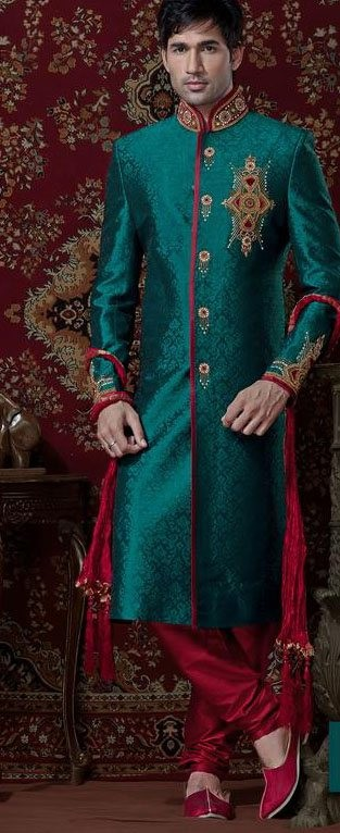 Teal Green & Maroon Brocade Cotton Silk Sherwani With Churidar