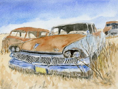 pen watercolor sketch dodge dart junkyard abandoned