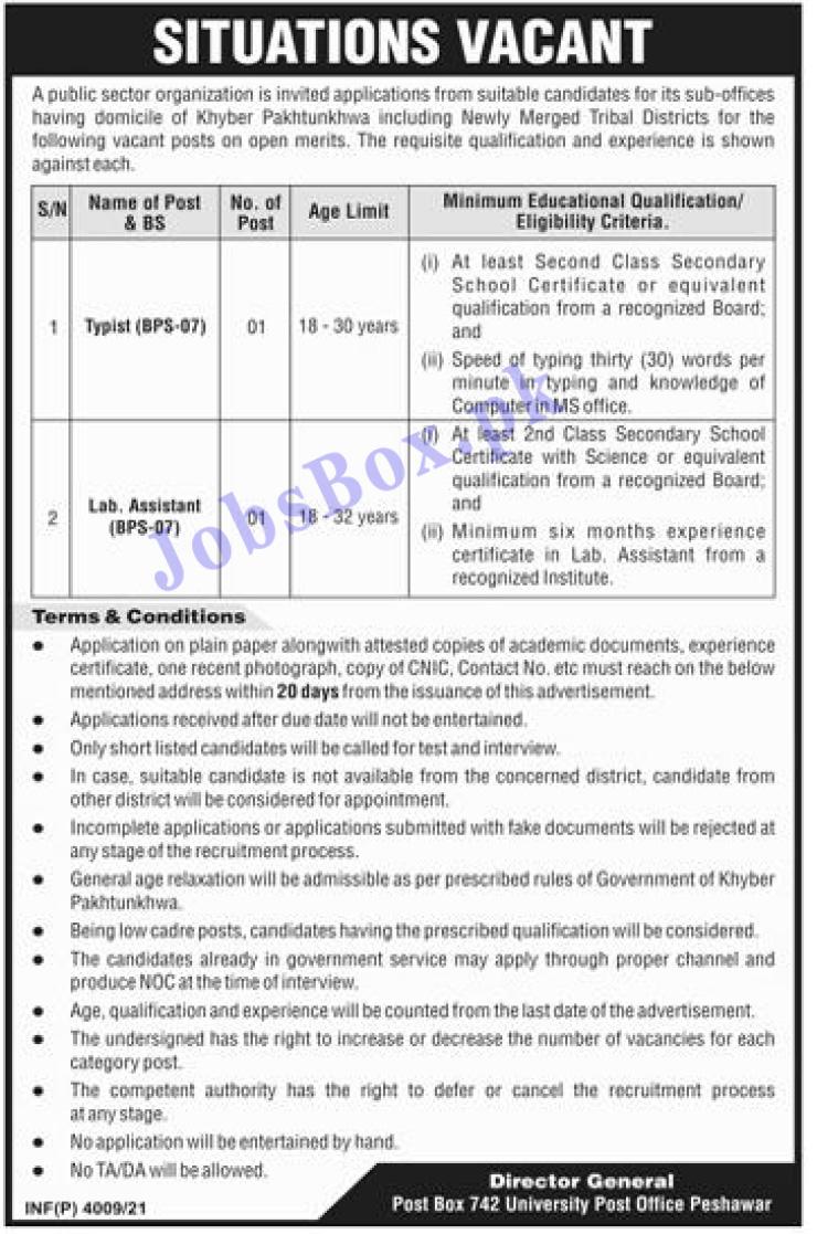 Public Sector Organization KPK PO Box No 742 Jobs 2021 in Pakistan