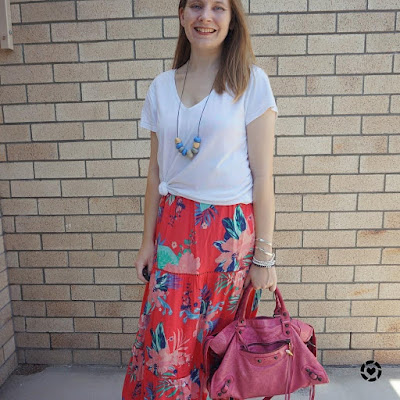awayfromblue Instagram | summer outfit white v neck tee over kmart tropical sleeveless tiered floral maxi dress