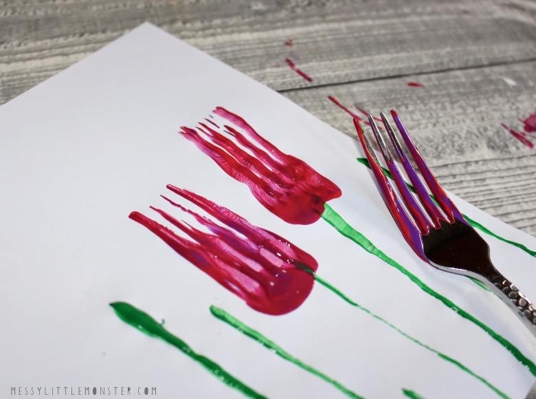 fork flower painting