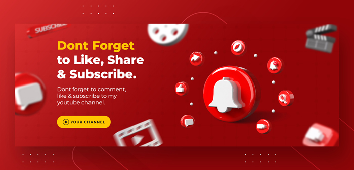 Business Page Promotion With 3D Render Youtube Notification Facebook Cover Template