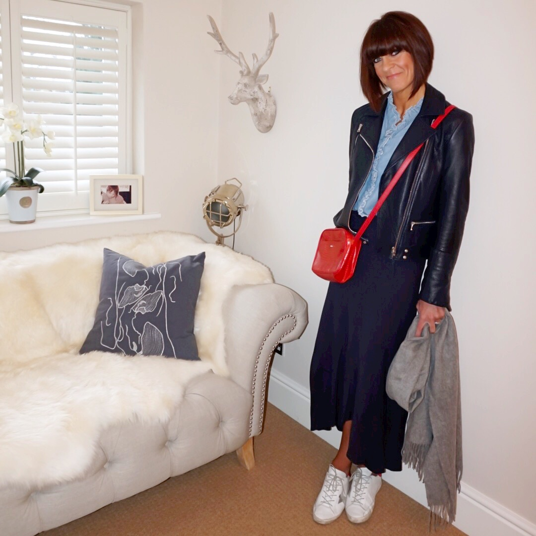 my midlife fashion, massimo dutti leather biker jacket, uterque mock croc cross body bag, isabel marant frill detail chambray shirt, marks and spencer frill maxi skirt, golden goose superstar low top leather trainers