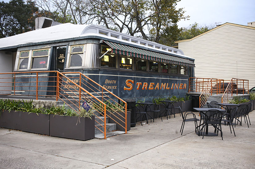 the Streamliner train car serving Sandfly BBQ in Savannah
